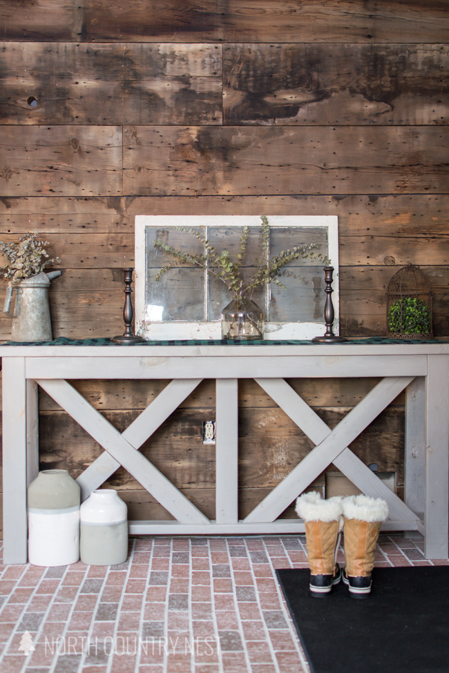 rustic entryway table with minimal decor