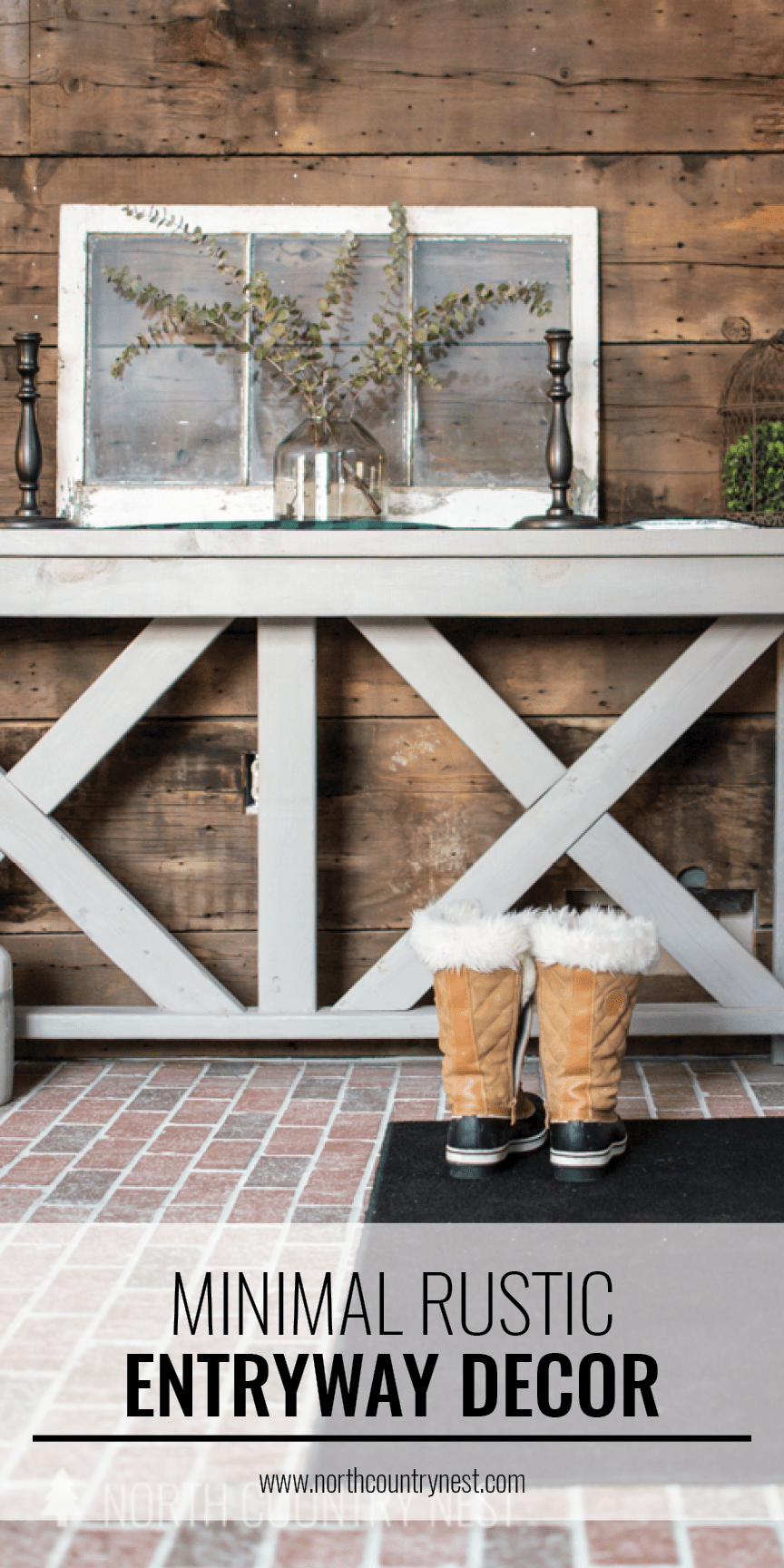 rustic entryway with winter boots and wood plank wall