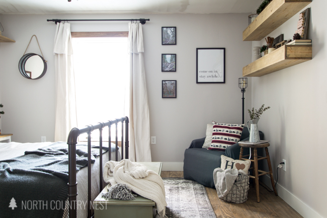 cozy winter seating area in a guest bedroom