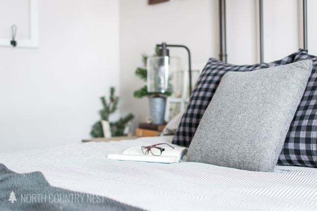 flannel winter throw pillows with buffalo check pattern