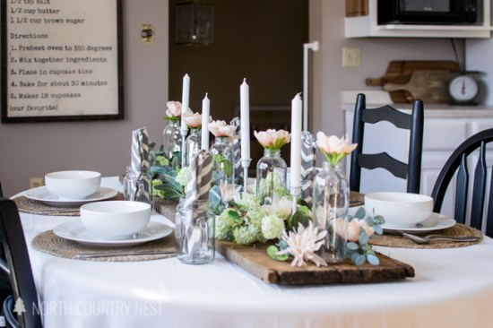 spring table decor in kitchen