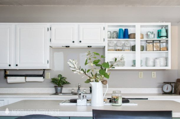open style white kitchen cabinets