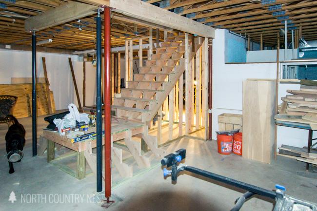 wood basement stairs