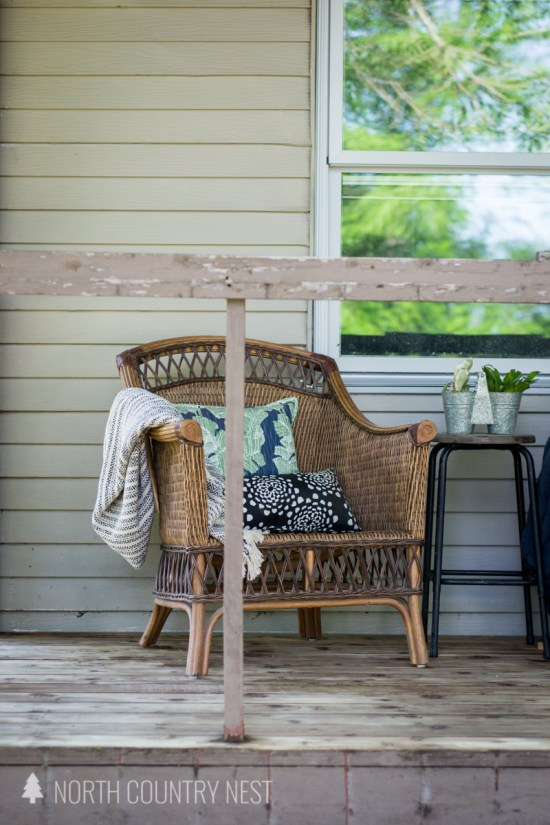 simple front porch decor with wicker furniture