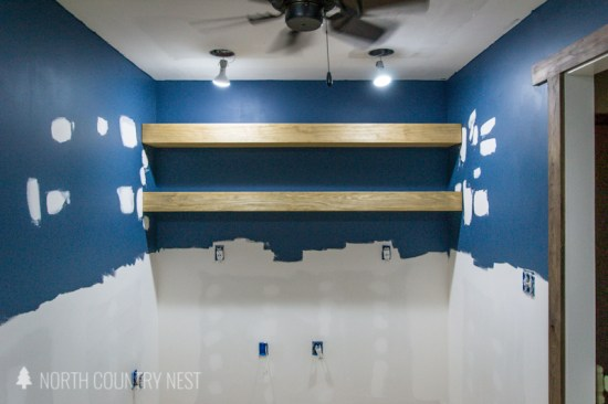 floating wood shelves in home office