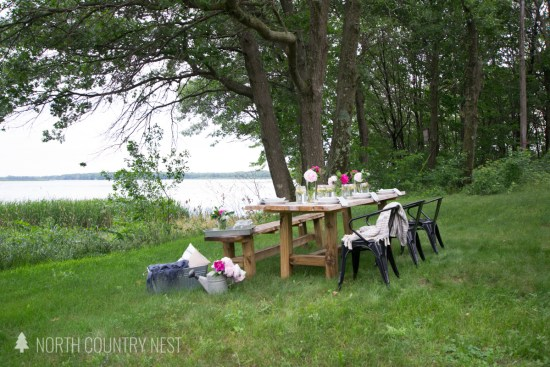 simple summer table looking over lake