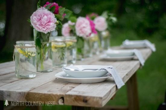 peony centerpiece on farmhouse table