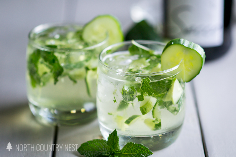 two glasses with cucumber and mint