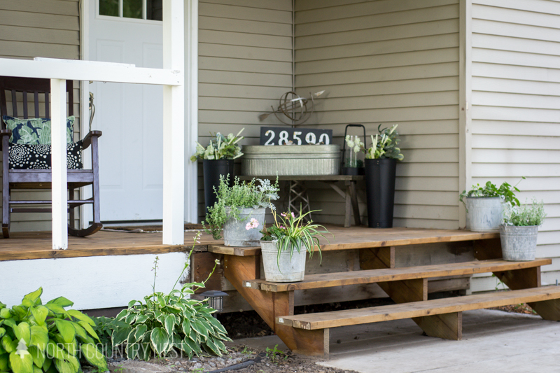 front porch with rustic decor