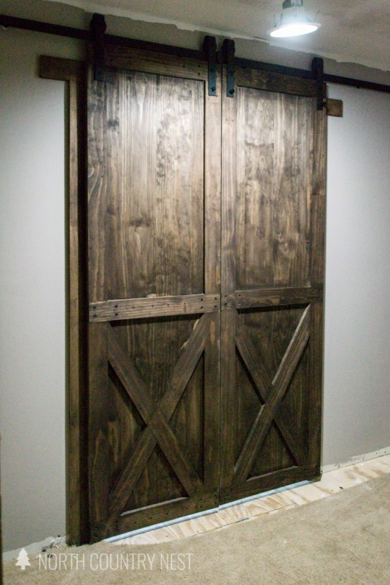 DIY wood barn doors for home office