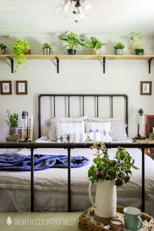 plant shelf in bedroom