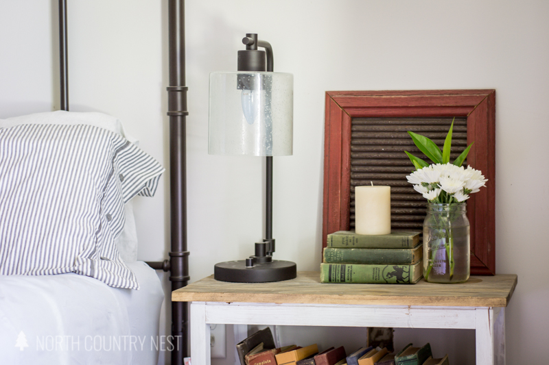 night stand with industrial lamp