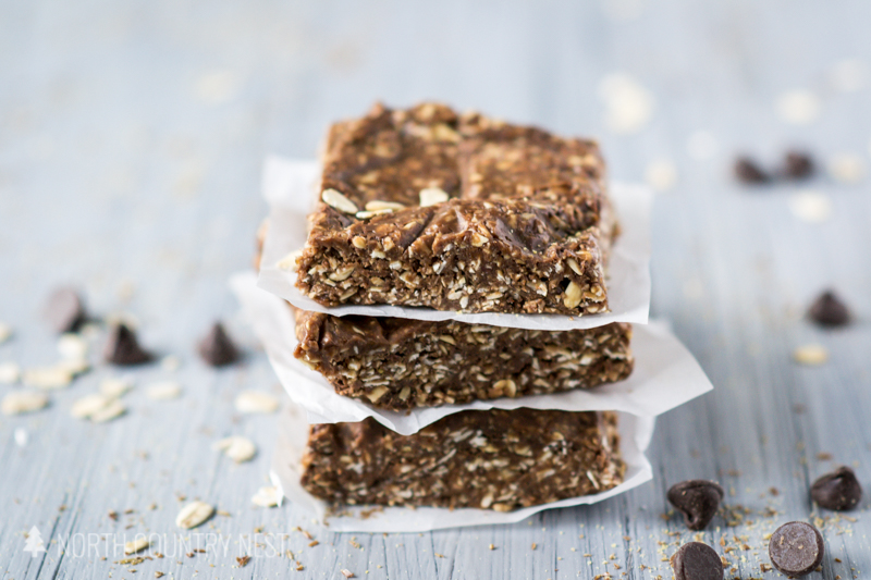 stacked granola bars on wax paper