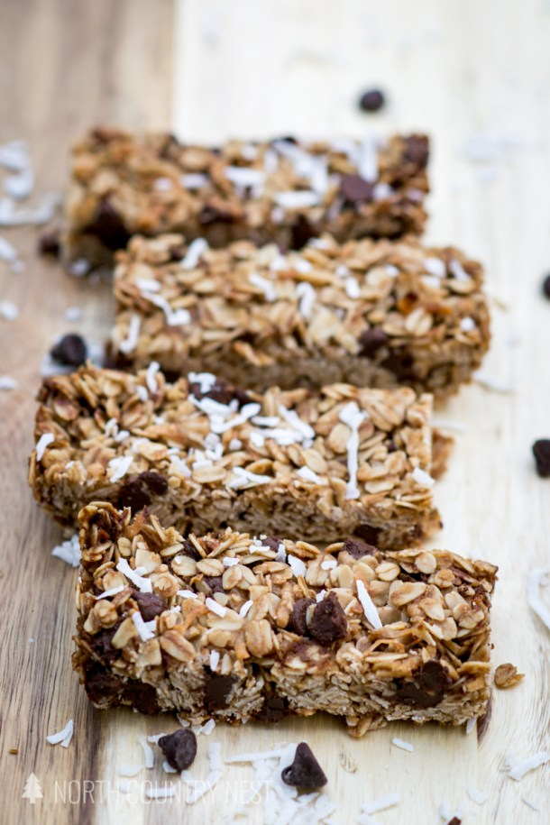 granola bars with wooden background