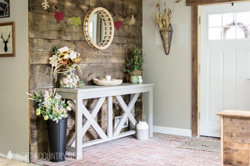 fall decor in entryway