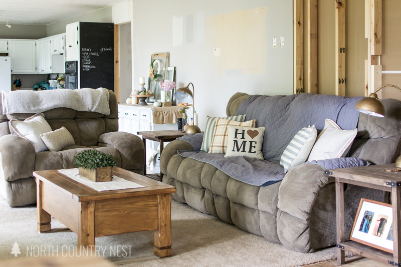 living room with fall decor