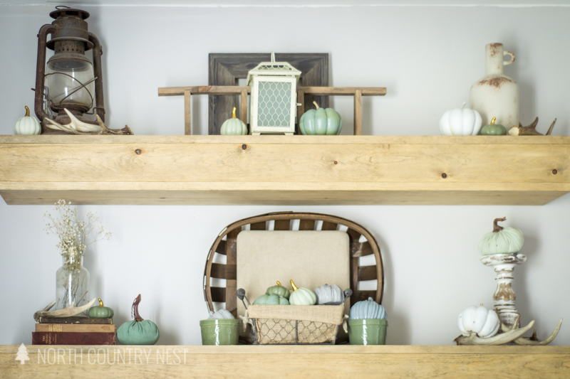 floating shelf with fall decor