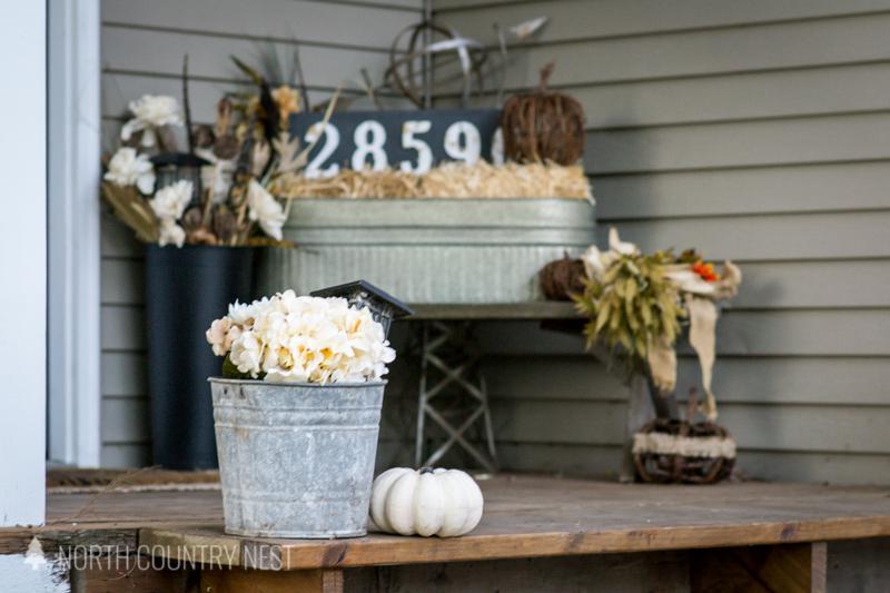 galvanized bucket with flowers