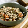 chicken wild rice in green bowl