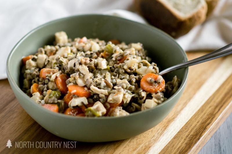 chicken wild rice in green bowl