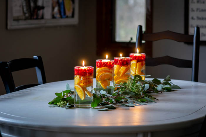 Simple Kitchen Table Centerpiece with Eucalyptus, Oranges ...