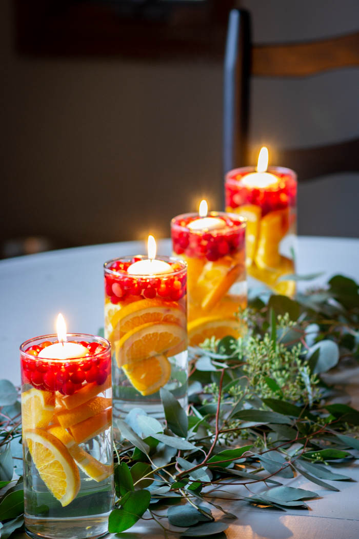 cranberry, orange and eucalyptus kitchen table centerpiece