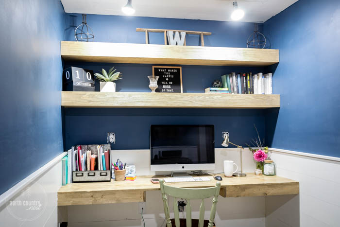 floating shelves in home office