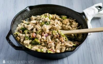 Gluten Free Creamy Coconut Chicken with Broccoli + Bacon
