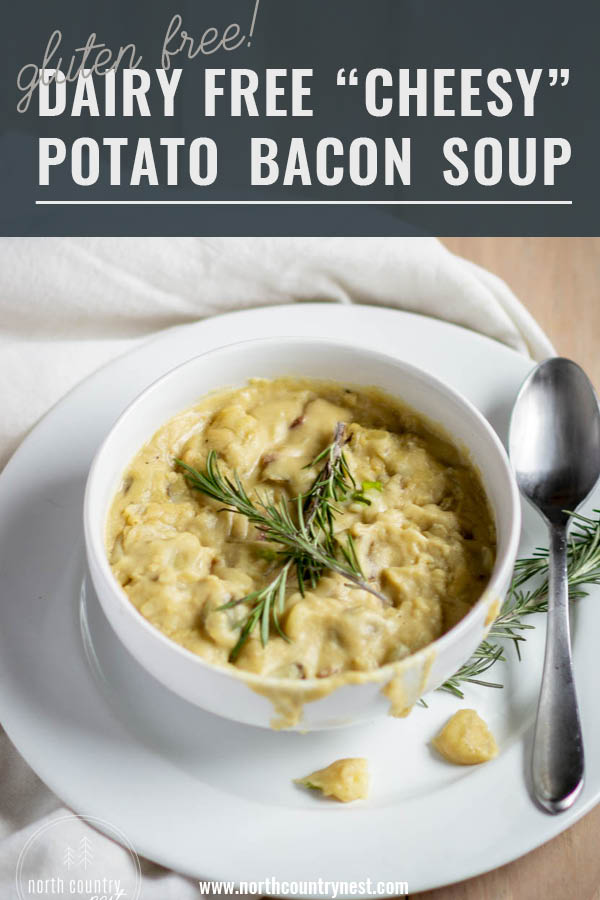 dairy free potato bacon soup in white bowl
