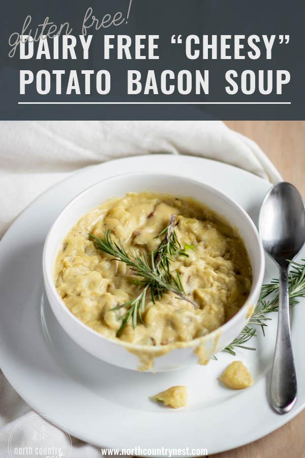 dairy free potato bacon soup in white bowl