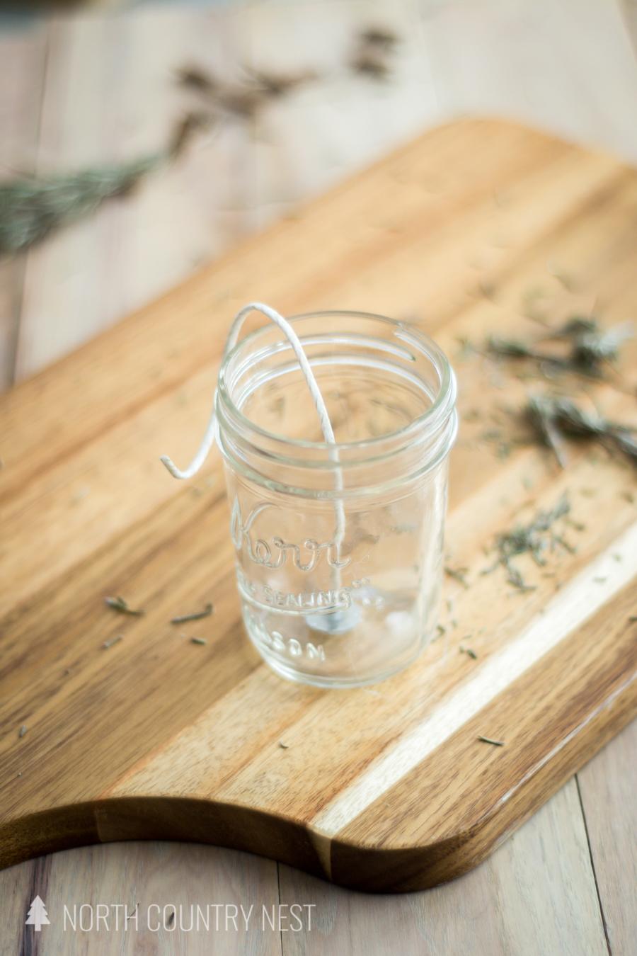candle wick in mason jar
