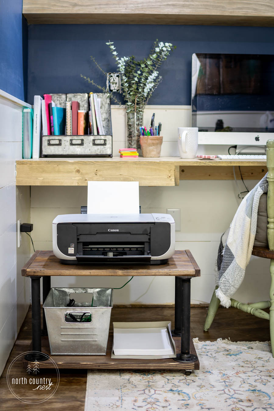 rolling industrial home office printer cart
