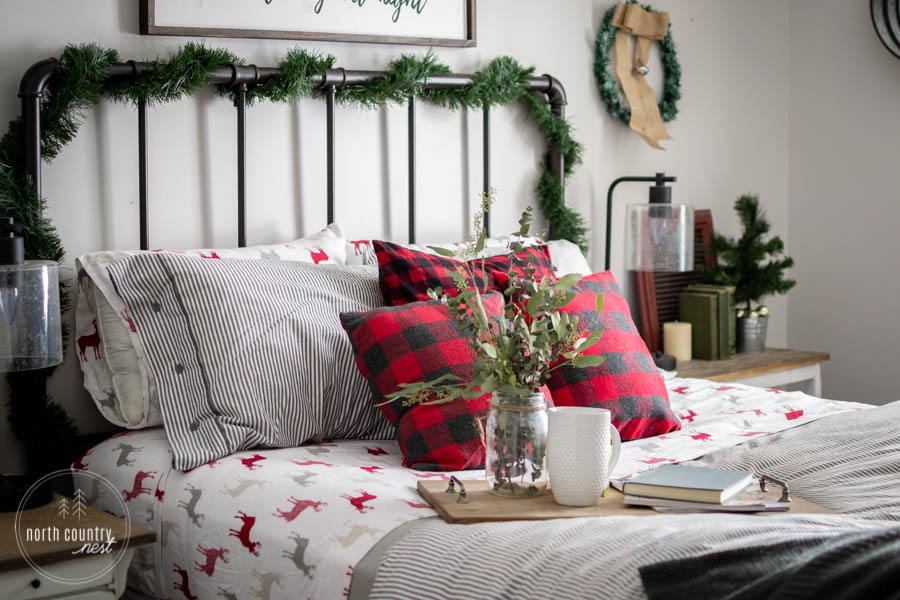 guest bedroom with rustic holiday decor