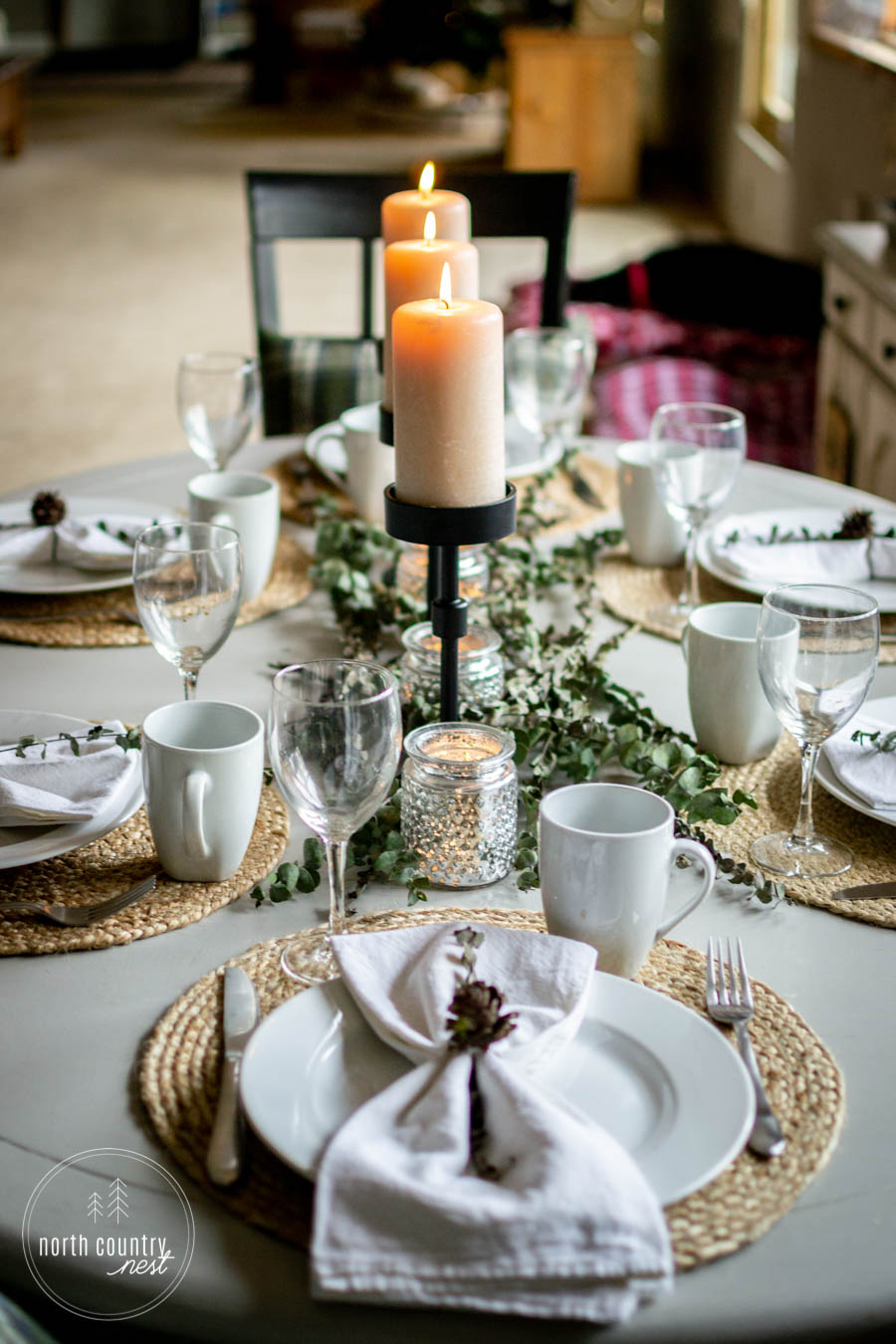 table setting for holiday tablescape