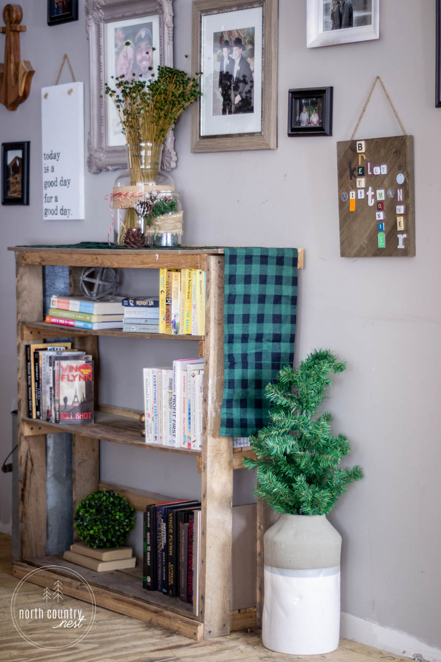 holiday decor and book shelf