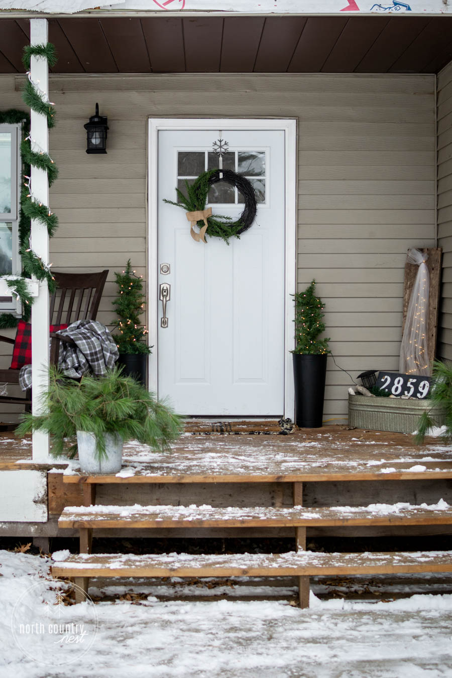 white door with holiday wreath