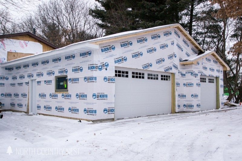 unfinished garage at north country nest