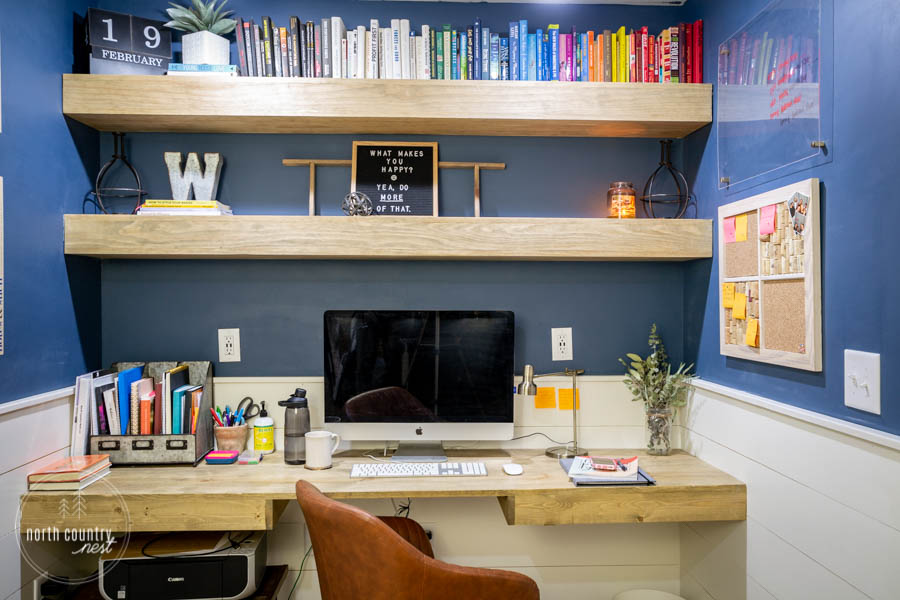 rustic home office with DIY office cork board