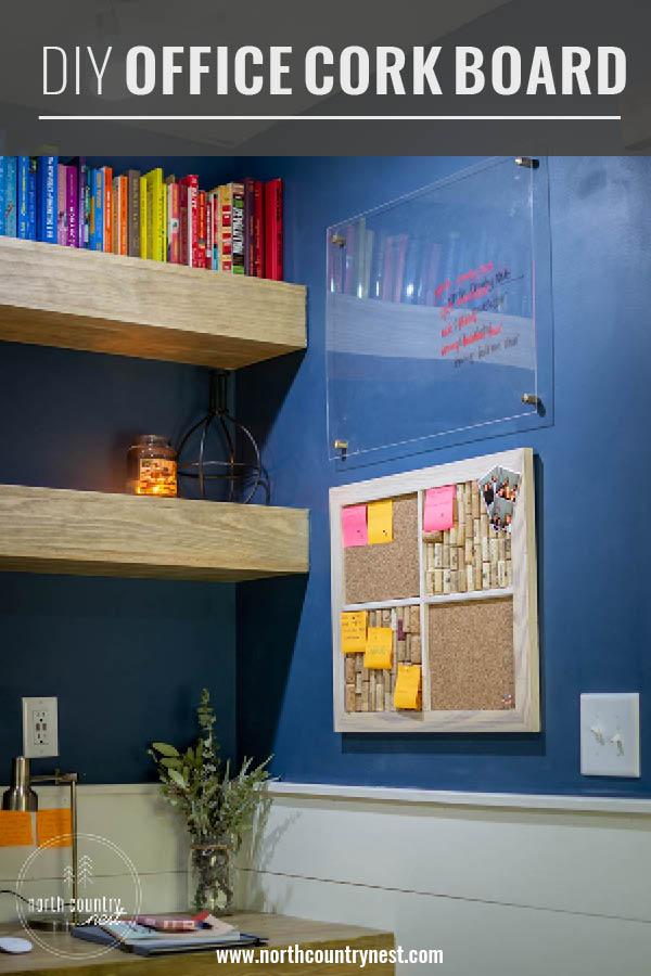home office organization with DIY cork board