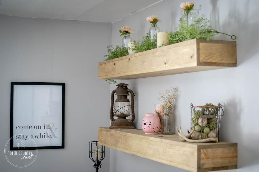 spring bedroom floating shelves