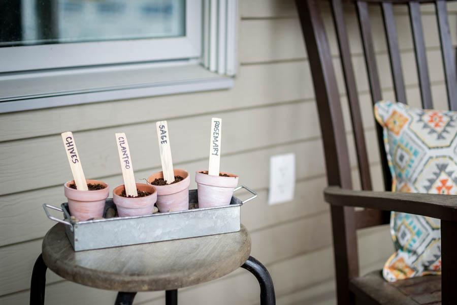 DIY herb garden on porch side table