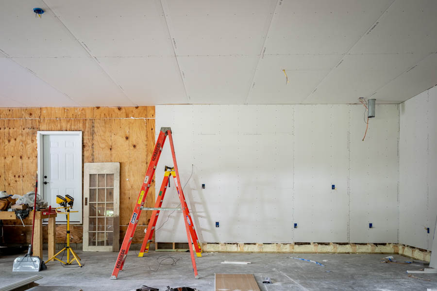drywall in three car garage renovation