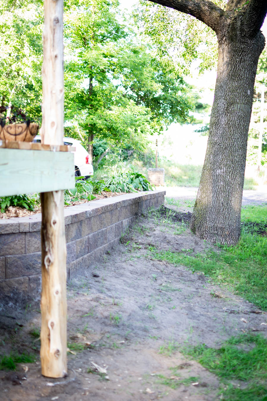 New retaining wall at North Country Nest