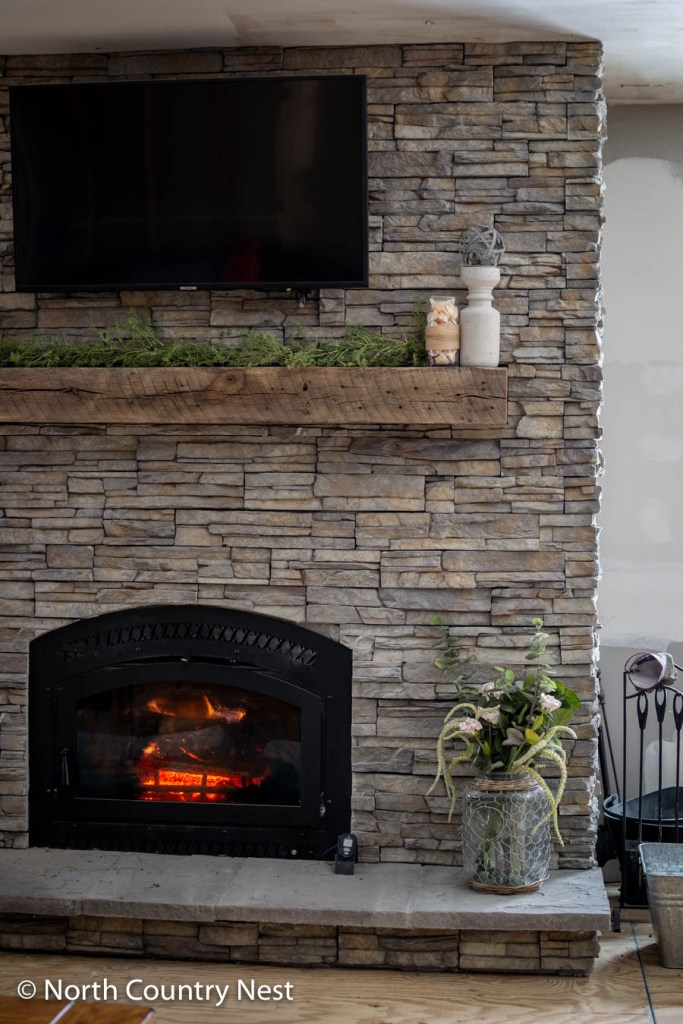 Fireplace decorated for spring