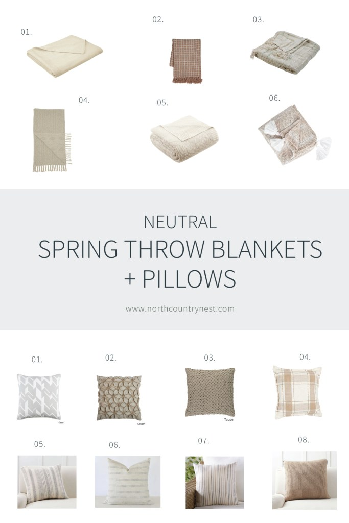 Neutral Spring Throw Pillows and Bankets | North Country Nest
