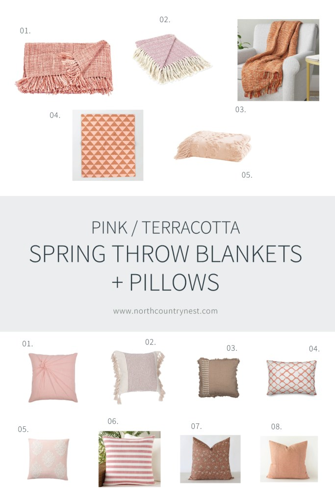 Pink and Terracotta Spring Throw Blankets and Pillows | North Country Nest