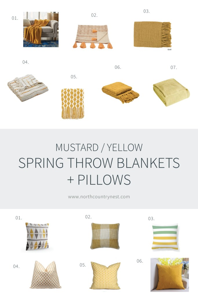 Mustard Yellow Spring Throw Pillows and Bankets | North Country Nest