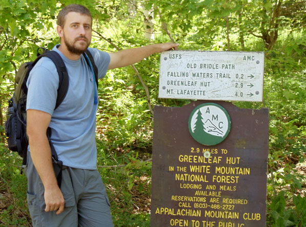 The Falling Waters Trail and Old Bridle Path trail sign.