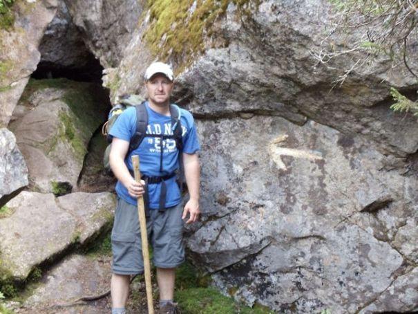 A Mahoosuc Notch trail marker on the Maine Appalachian Trail.