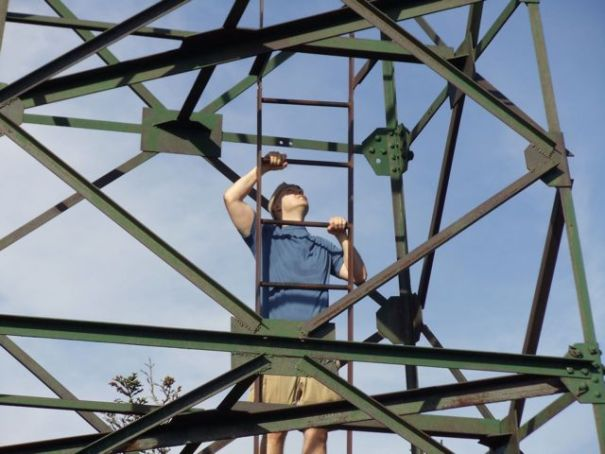 Climbing the fire tower on Old Speck Mountain.